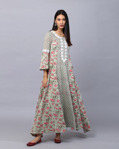 GREEN HANDBLOCK COTTON MUL-MUL KURTI WITH LACE