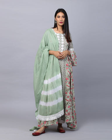 GREEN HANDBLOCK COTTON MUL-MUL KURTI WITH LACE & MUL-MUL DUPATTA WITH PANTS SET OF 3