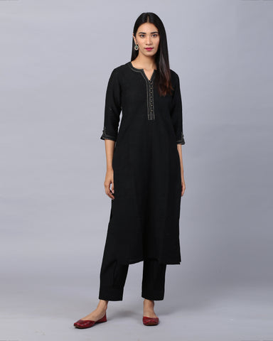 Black Cotton Handloom Kurta With Zari Detailing & Box Pleat Pants Set of 2