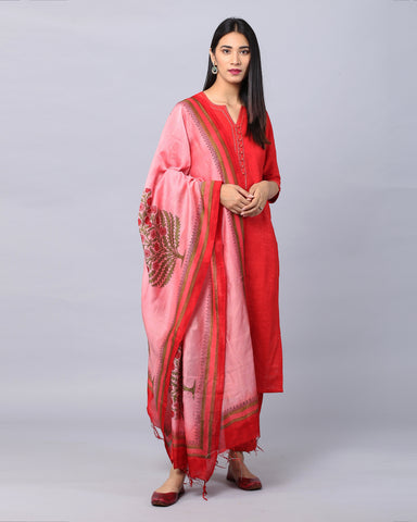 RED COTTON HANDLOOM KURTA WITH ZARI DETAILING & BOX PLEAT PANTS & HANDBLOCK  DUPATTA SET OF 3