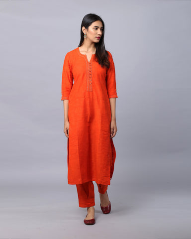 ORANGE COTTON HANDLOOM KURTA WITH ZARI DETAILING & BOX PLEAT PANTS SET OF 2