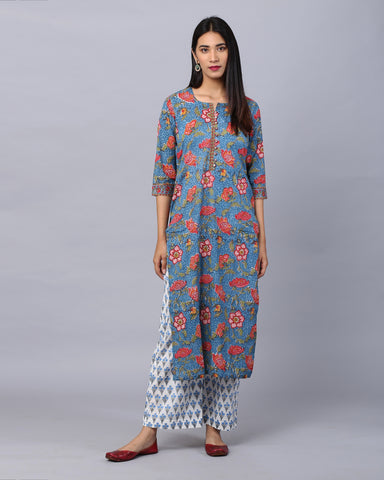 Blue cotton Handblock suit  With plazzo & Mul-Mul duppata Set of 3