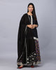 Black Modal Cotton Kurta with patola cotton skirt and Mul Mul  Dupatta - Set of 3