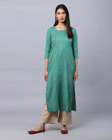 Green Cotton Handloom Kurta With Zari & Crosia Button  Detailing & Beige Palazzo Set Of 2