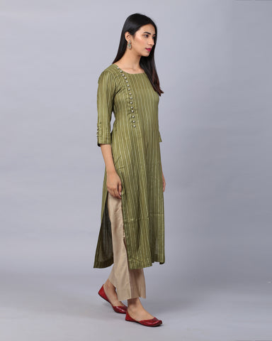 MEHENDI GREEN COTTON HANDLOOM KURTA WITH ZARI & CROSIA BUTTON DETAILING