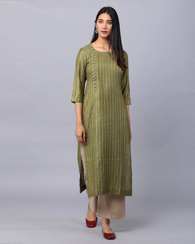 MEHENDI GREEN COTTON HANDLOOM KURTA WITH ZARI & CROSIA BUTTON DETAILING & BEIGE PALAZZO SET OF 2