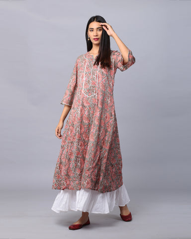 GREY & PINK HAND BLOCK PRINTED COTTON MUL MUL DRESS
