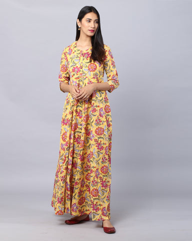 Yellow  Flower Print Cotton HandBlock Dress