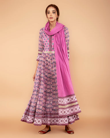 LILAC COTTON HANDBLOCK DRESS WITH DUPATTA