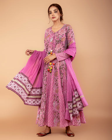 LILAC ROSE COTTON HANDBLOCK DRESS WITH DUPATTA