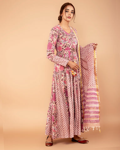 BEIGE ROSE COTTON HANDBLOCK DRESS WITH DUPATTA