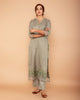 Fern Green Satin linen Handloom kurta with Pants