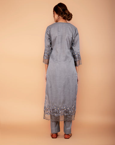 Grey Satin linen Handloom kurta with Pants