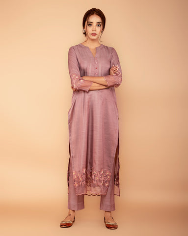 Rose gold Satin linen Handloom kurta with Pants
