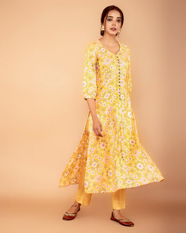 YELLOW COTTON PATOLA KURTA