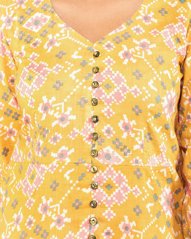 YELLOW COTTON PATOLA KURTA WITH PALAZZO