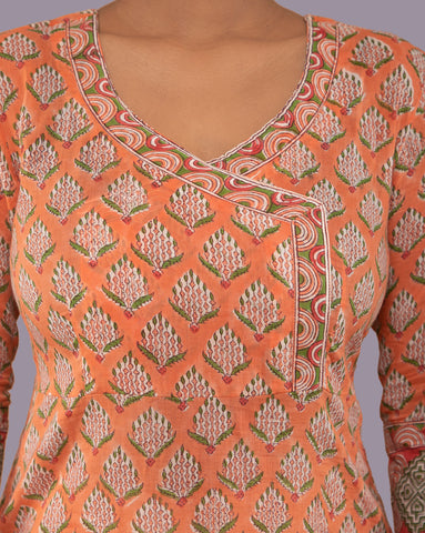 ORANGE ANGRAKHA HANDBLOCK SUIT SET OF 2