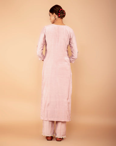 lavender embroiderd leather work muslin suit set with attached mul mul  lining set of 3