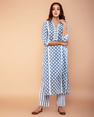 GREY POLKA DOT PRINTED COTTON SILK KURTA SET OF 2