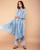GREY POLKA DOT PRINTED COTTON SILK SUIT WITH BANDHANI MUL-MUL DUPATTA SET OF 3