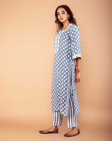 GREY POLKA DOT PRINTED COTTON SILK KURTA