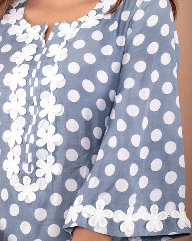 GREY POLKA DOT PRINTED COTTON SILK KURTA WITH PANTS SET OF 2