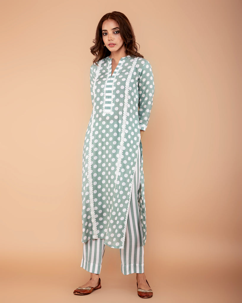 PISTA GREEN POLKA DOT PRINTED COTTON SILK KURTA
