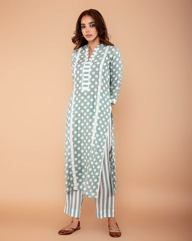 PISTA GREEN POLKA DOT PRINTED COTTON SILK KURTA WITH PANTS SET OF 2