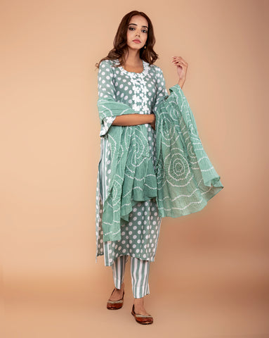 PISTA GREEN POLKA DOT PRINTED COTTON SILK KURTA WITH PANTS & MUL-MUL BANDHANI DUPATTA SET OF 3