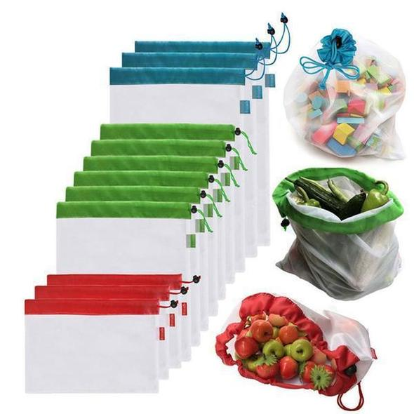 12 Pack Reusable Produce Bags - Washable Eco Friendly Mesh Grocery Bags - OptimalDealz