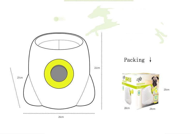 Interactive Tennis Ball Launcher Machine Dog Fetch Pet AFP Ball Play Toy Game - OptimalDealz