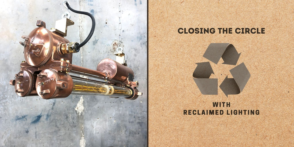 Reclaimed lighting for a circular economy. Salvaged and professionally restored high quality industrial style lighting for modern interiors. Keeping products in the economy, making less waste.