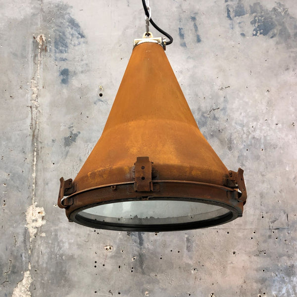 rusted rustic vintage industrial conical ceiling light