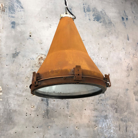 Large reclaimed industrial rusty conical ceiling pendant lighting for tall ceillings or vaulted ceilings