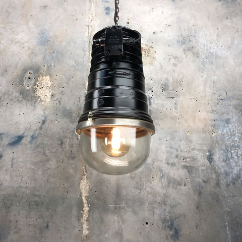 A Large Ceiling lighting for tall ceilings or vaulted ceilings. A reclaimed black industrial ceiling pendant light.