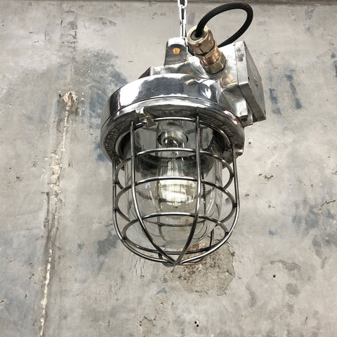 Large Aluminium industrial ceiling pendant light with a cage for tall ceilings or vaulted ceilings