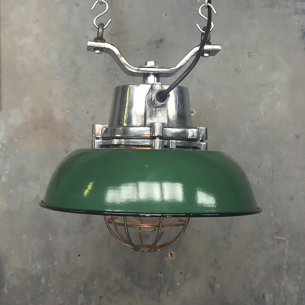 Vintage industrial green Ceiling pendant with protective cage