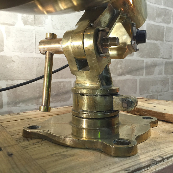 A retro industrial brass, stainless steel and copper naval searchlight table lamp, salvaged & restored.