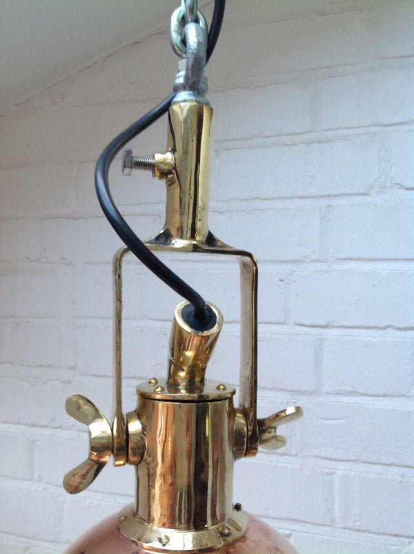 retro industrial small copper & brass ceiling pendant