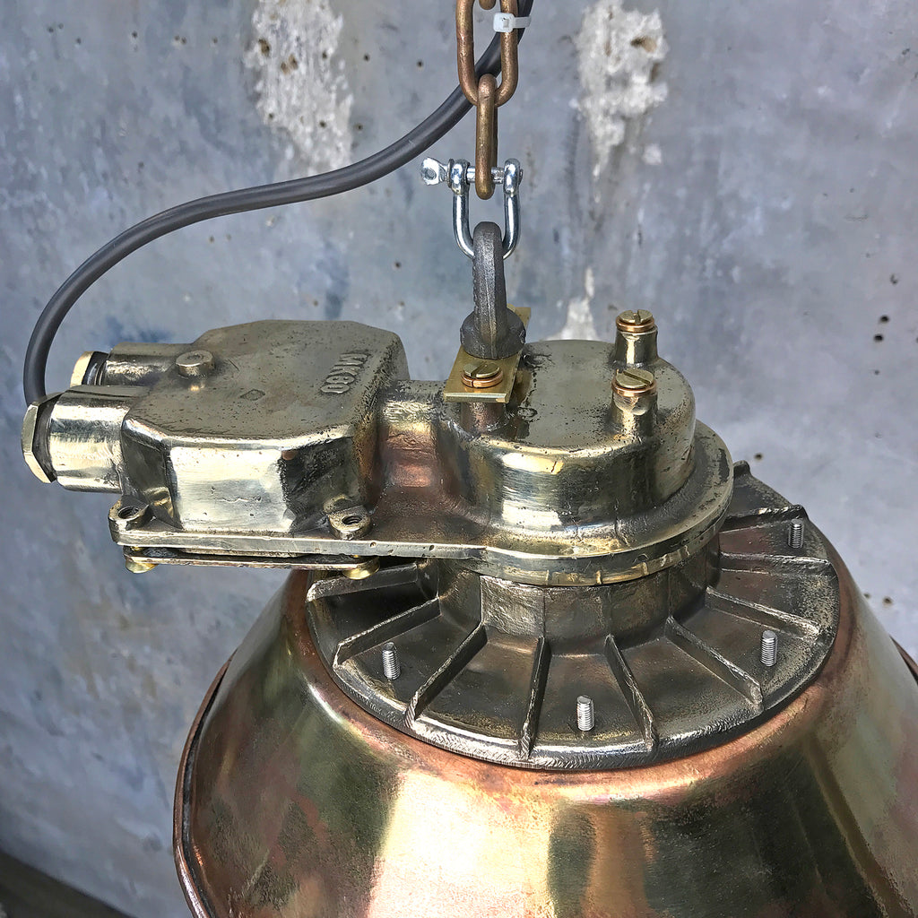 Mid Century German Industrial Brass Ceiling Pendant Lighting