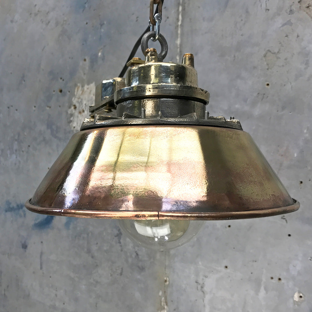 Industrial brass ceiling pendant with conical shade