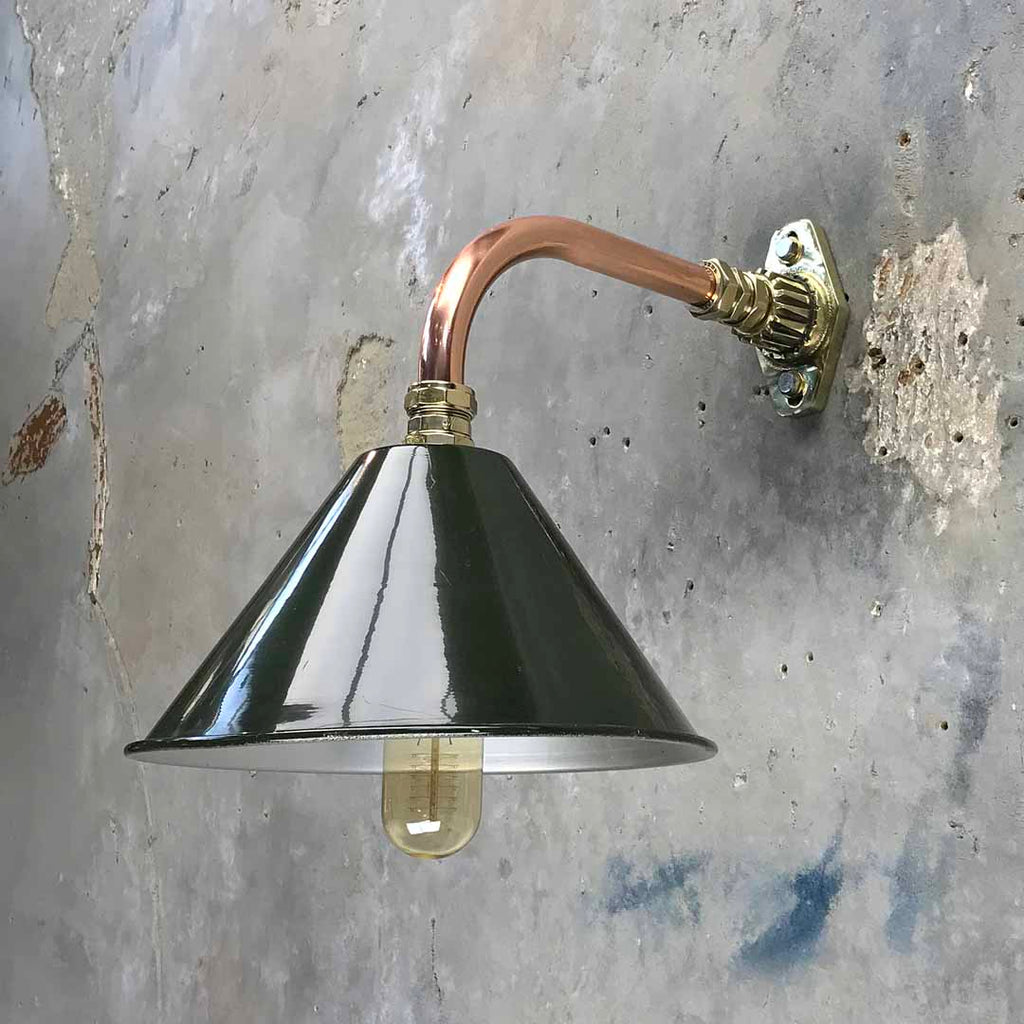 vintage british copper cantilever wall light with military green shade