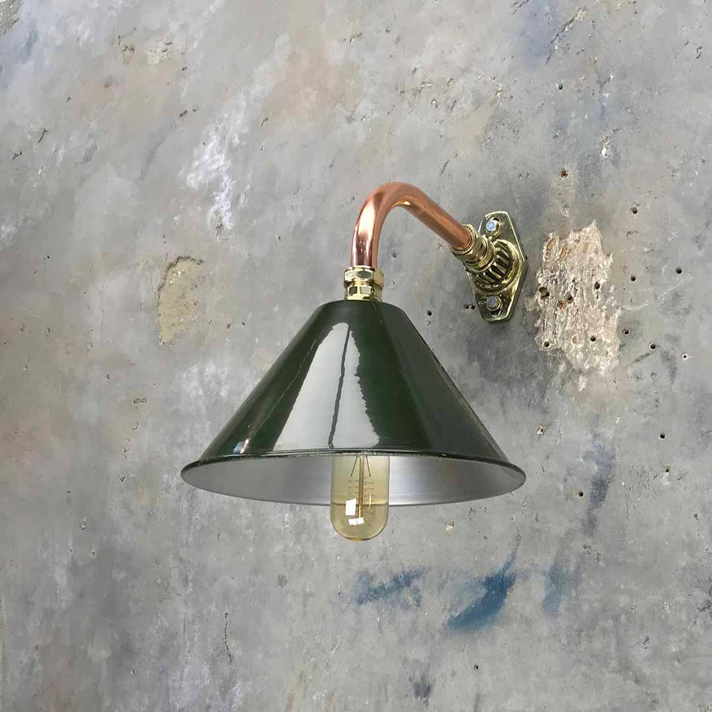 Vintage British Military Copper Cantilever Wall Light with Green Shade