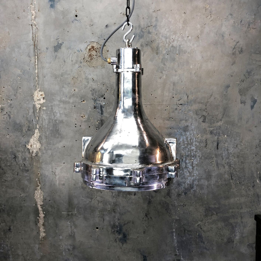 Vintage industrial aluminum engine room ceiling pendant light for modern interiors