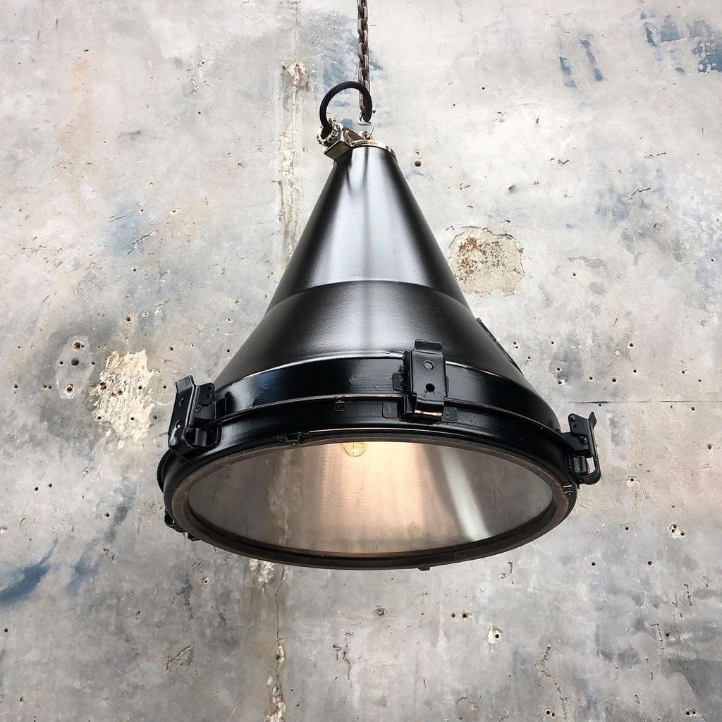 A vintage industrial black conical ceiling pendant by Daeyang.
