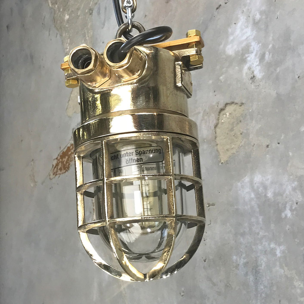 Industrial explosion proof brass ceiling pendant with protective cage.