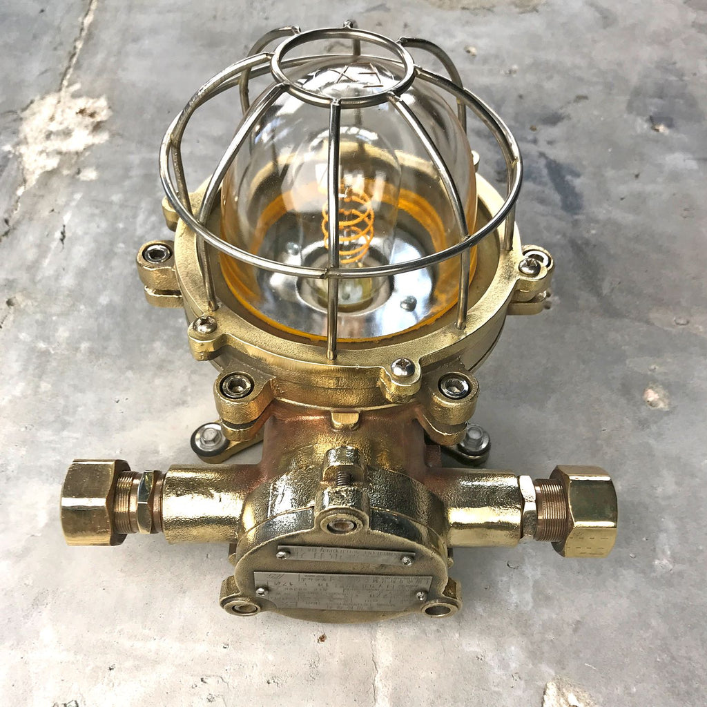 industrial style outdoor cast brass explosion proof bulkhead wall light made c1970.