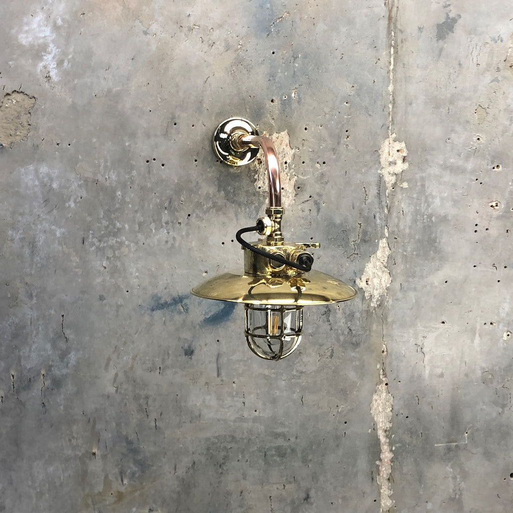 Vintage industrial copper & brass cantilever wall Light