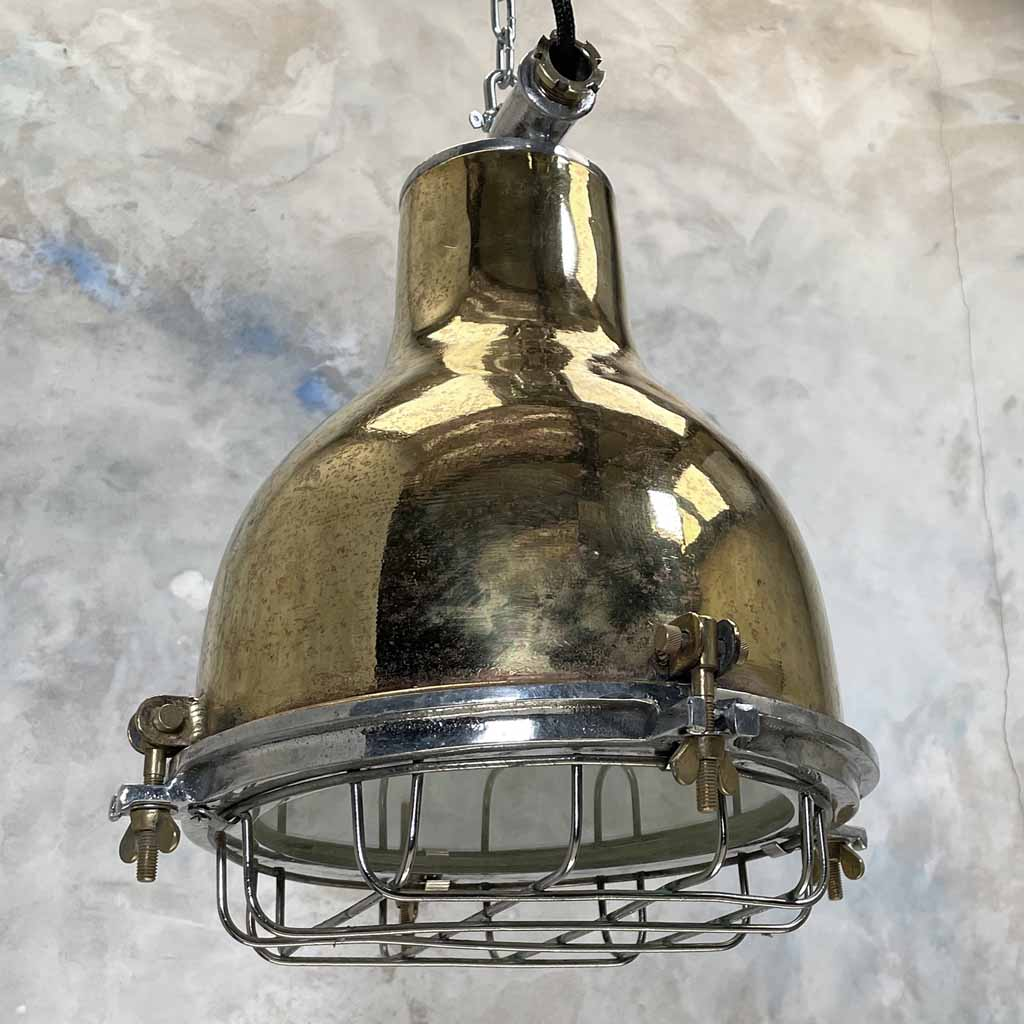 Vintage Industrial Brass Dome Ceiling Pendant lighting with Aluminium Protective Cage