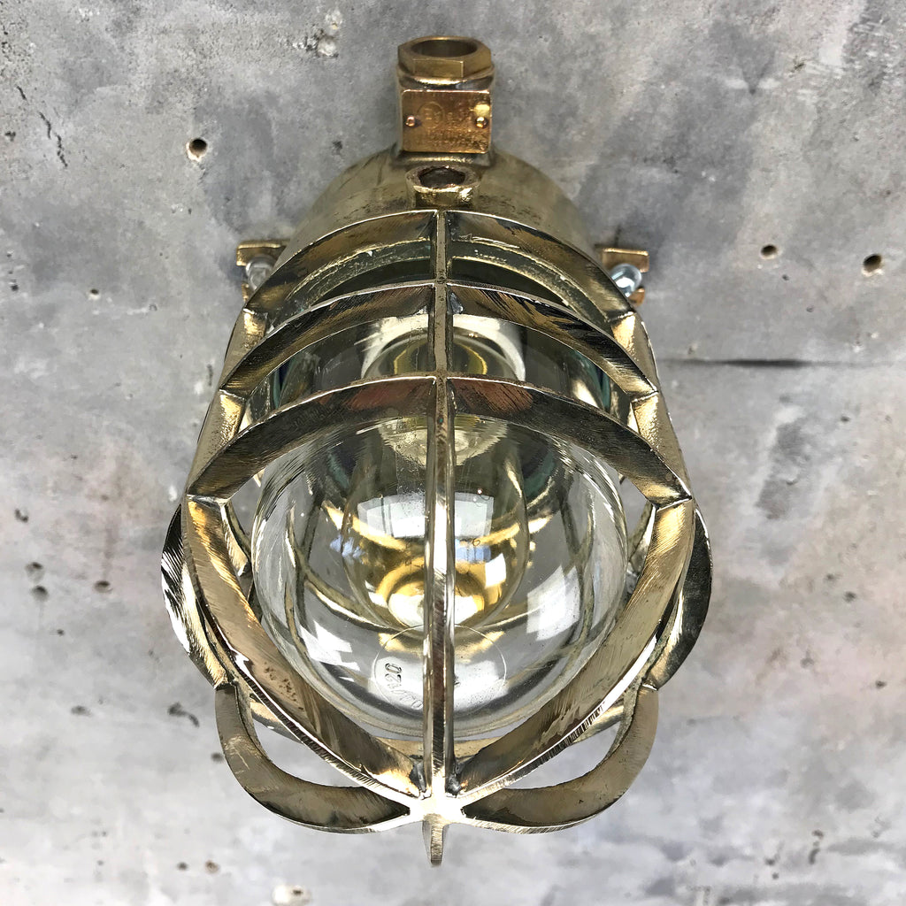 Brass Explosion Proof Wall Cage Light by Wiska